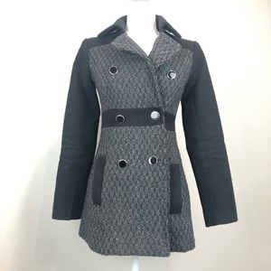 BCX black grey sparkle textured trench coat XS